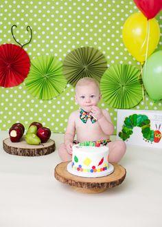 Minimalist Boy Hungry Caterpillar Cake Smash With Primary Colors C Honolulu Family Photographer Sharleen Mey Photograph