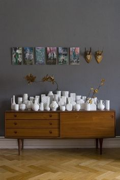 Beautifully Organized: Collections @thethriftress check this out= idea for all of our milk glass