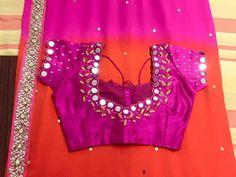 B Mirror Work Saree Blouse, Pink Saree Blouse, Mirror Work Blouse Design, Wedding Saree Blouse Designs, Pattu Saree Blouse Designs, Fancy Blouse Designs, Simple Anarkali Suits, Salwar Neck Designs, Designer Blouse Patterns