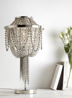 Beaded table lamp with cut glass crystals and bronze frame bhs evangeline table lamp mozeypictures Image collections