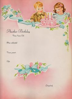 Another Birthday ~ Vintage baby book page