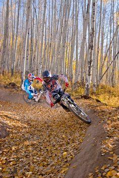 Riders enjoying Awakening in the fall. #dh #ridecb #evolutionbikepark Photo:@trentbonaphoto