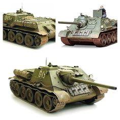 Cу-85. Cредняя по массе советская самоходно-артиллерийская установка (САУ), относящаяся к классу истребителей танков. Масштаб модели: 1/35. Длина в собранном виде: 235 мм. Особенности модели: набор тонирующих пигментов (красная земля, песок, копоть); одна фигурка танкиста в расслабленном сидячем положении; расширенный набор принадлежностей, таких как топливные баки, запасные траки, лопата, одеяла и т.д.