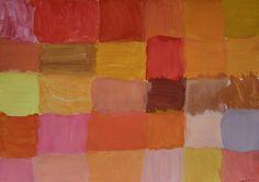 BARVY PRO KARKULKU,VLKA A MYSLIVCE - objevování rozličných odstínů červené, šedé, zelené mícháním barev (malba temperovými barvami)