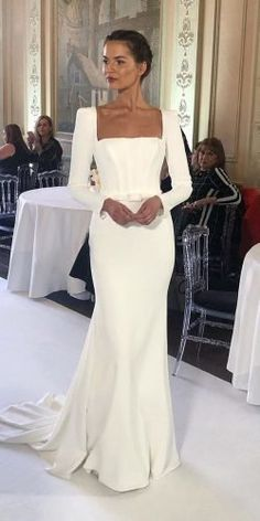 Hottest Wedding Dresses Collections for ★ best wedding dresses simple with long sleeves square neckline suzanne neville Wedding Dresses Near Me, Second Hand Wedding Dresses, Simple Wedding Gowns, Long Sleeve Wedding, Wedding Dress Sleeves, Elegant Wedding Dress, Bridal Dresses, Lace Dress, Square Wedding Dress