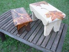 Pintura em banquinho de madeira