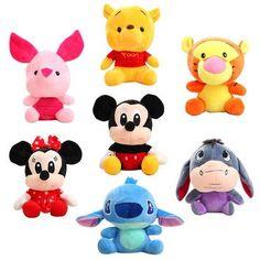 55fbcb817973 Disney Stuffed Animals Plush Mickey Mouse Minnie Winnie the Pooh Doll Lilo  and Stitch Piglet Keychain