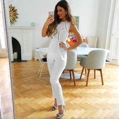 Mimi Ikonn | White jumpsuit and silver heels | OOTD