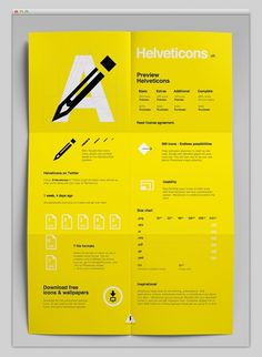 Helvetica inspired poster design. Black white and yellow graphics.