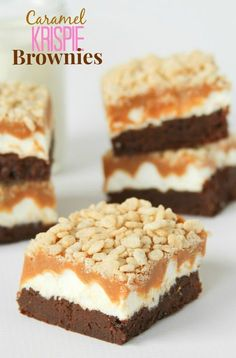 Caramel Krispie Brownies -- fudgy homemade brownies topped with marshmallow, caramel and crunchy krispies. #Halloween #desserts