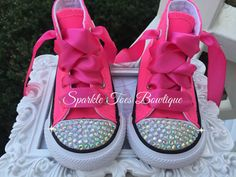 Neon Pink Rhinestone Converse Crystal Sparkle Girls Birthday Party Shoes Pink outfit Hot Pink Pageant Shoes Youth Toddler Infant Pink Party