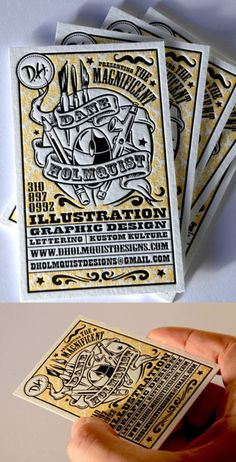 Unique letterpress design patterned after magic posters in the early Creative graphic designer Dane Holmquist uses this as his identity card to really make an impression in the graphic design world Business Card Maker, Unique Business Cards, Creative Business, Letterpress Business Cards, Letterpress Printing, Bussiness Card, Start Ups, Grafik Design, Kustom