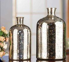 2 Piece Silver Antique Vase