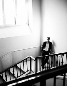 Actor Thomas Trabacchi looking suave in a Giorgio Armani suit.