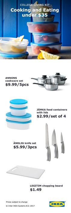 IKEA cooking and eating kits have everything you need to dine in your small college space, starting at $35!