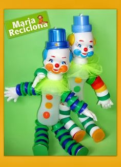 ** Maria Reciclona **: Reciclagem Embalagens Plásticas Diy Craft Projects, Crafts For Kids, Projects To Try, Diy Crafts, Plastic Bottle Art, Recycle Plastic Bottles, Recycling Ideas For School, Bottle Top Crafts, Recycled Robot