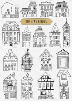 Old town houses   pattern , #Affiliate, #design#stuff#cards#posters #Ad Town Drawing, Doodle Art Drawing, House Drawing, House Doodle, Cardboard City, Christmas Doodles, House Quilts, Window Art, Urban Sketching