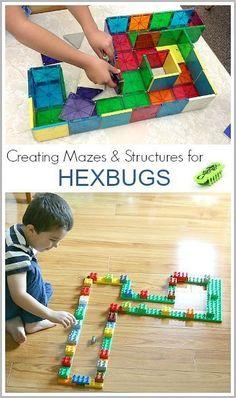 STEM Activities for Kids: Creating mazes for Hexbugs using Duplo and Magnatiles~ BuggyandBuddy.com