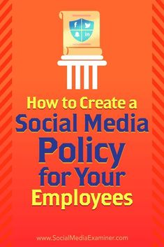 A social media policy gives your employees guidelines for interacting with customers and protecting their personal safety as well as your businesss reputation.In this article youlldiscover three tips for creating a social media policy for your employees. Social Media Trends, Social Media Analytics, Social Media Marketing Business, Digital Marketing Strategy, Inbound Marketing, Influencer Marketing, Content Marketing, Marketing Mail, Online Marketing