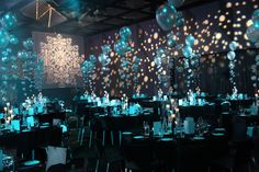 Balloon centrepieces which create amazing centrepieces and give the illusion of being underwater or of the room floating