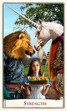 Strength  ~ Alice Tarot  Designed and illustrated by Karen Mahony and Alex Ukolov, Baba Studio