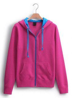 Rose Red Collision Energy Zipper Cardigan Sweatshirt$49.00