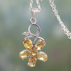 Citrine flower pendant necklace, 'Sunny Blossom' - Necklace with Citrine Flower Motif in Sterling Silver Fall Jewelry, Jewelry Gifts, Flower Pendant, Sterling Silver Necklaces, Gemstone Jewelry, Pendant Necklace, Drop Earrings, Gemstones, Active Wear