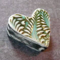 Hollow Double Sided Heart Box Bead in Crackle Turquoise & Mango - Fern