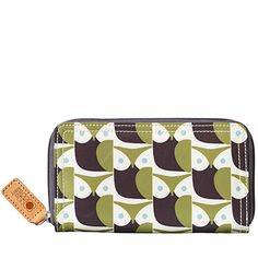 Orla Kiely   USA   Accessories   Wallets & Pouches   Little Owl Big Zip Wallet (15AELOW122)   Moss & Grey