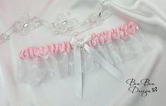 White and pink wedding garter bridal garter by BeuBeuDesign