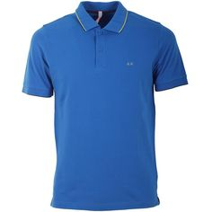 Sun 68 Sun 68 Men's Blue Cotton Polo Shirt | Bluefly.Com (340 BRL) ❤ liked on Polyvore featuring men's fashion, men's clothing, men's shirts, men's polos, blue, mens blue shirt, mens polo shirts and mens blue polo shirts