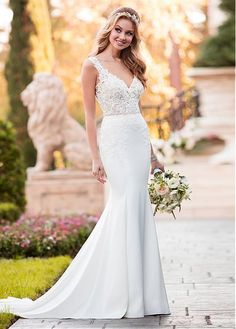 Fantastic Tulle & Acetate Satin V-neck Neckline Mermaid Wedding Dress With Lace Appliques & Beadings