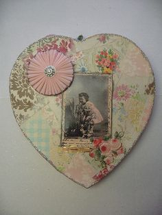 Decoupage Heart w/vintage photograph, by scrappyjessi, via Flickr