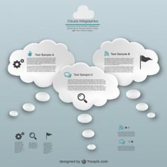 Thinking bubble clouds infographic
