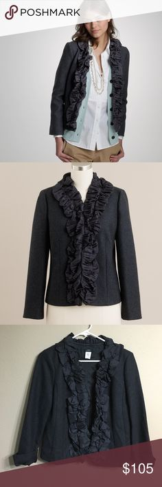 J. Crew • Wool pleated silk chimera jacket J. Crew wool pleated silk chimera blazer jacket. Size 2. Ruffle detail down jacket front. Charcoal. Eyelet hook closure. Like new condition. Retail $248. Sold out online. J. Crew Jackets & Coats