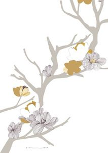 Karin Akesson - Grey Flower Branch: Wish I could have this as a roll of wallpaper