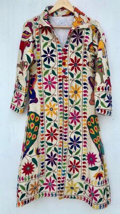 Excited to share this item from my shop: Embroidered coat / embellished robe / banjara vintage jacket / boho kimono robe Curvy Fashion, Boho Fashion, Fashion 2017, Fashion Looks, Boho Outfits, Fashion Outfits, Navratri Dress, Choli Dress, Dress Painting
