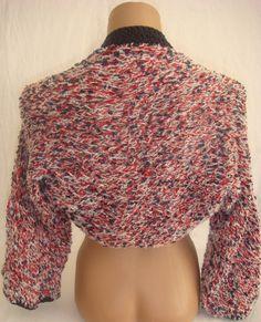 Hand knitted crocheted navy red white bolero shrug by Arzus, $49.90