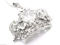 Crown Pendant Women's Center Heart Crystal Necklace New #Unbranded #Pendant