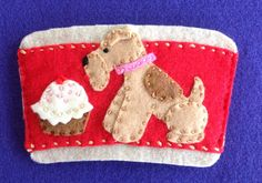 Lakeland terrier coffee cozy by Ecotrinkets - Amy Monthei Find a current selection of available Ecotrinkets here: https://www.etsy.com/shop/Ecotrinkets