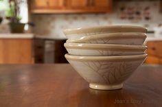 Photo Mondays: Jean's Clay Studio. White Fern Bowl Set of 4, made by Jean's Clay Studio, Milwaukee, Wisconsin