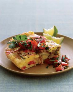 This Mexican-style take on a frittata makes a perfect item for brunch or a great light lunch on its own. Serve it hot or at room temperature.