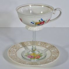 """Teacup Glass .....Last year it was """"Redneck Wine Glasses.""""  This year it's the antithesis,,,,Teacup Wine glass repurposed from our Mothers' teacups....I see another craft day with my daughters in my future!"""