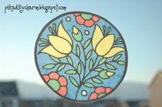 Paper Stained Glass Window using vegetable oil