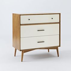 Shop 3 drawer dresser from west elm. Find a wide selection of furniture and decor options that will suit your tastes, including a variety of 3 drawer dresser. 60s Furniture, Entry Furniture, Modern Bedroom Furniture, Living Room Furniture, Apartment Furniture, Dining Rooms, Furniture Ideas, Changing Table Dresser, 3 Drawer Dresser