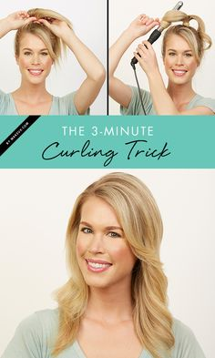 You CAN curl your hair in 3 minutes! Check out this tutorial for how to get quick and easy curls.