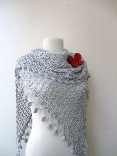 Light grey triangle shawl / wrap / shrug / stole by KnitAndWedding, $78.00
