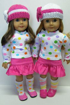 American Girl doll clothes 18 inch doll by Unendingtreasures.... Courtney has two American girls dolls, these to outfits are adorable!