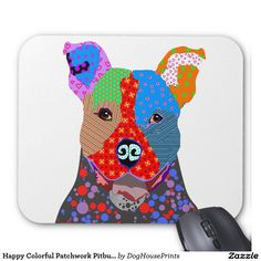 Happy Colorful Patchwork Pitbull Dog Mouse Pad