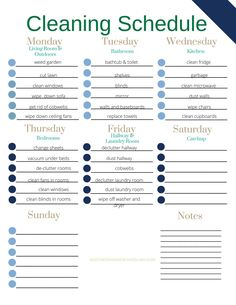 Here's a copy of our weekly realistic cleaning schedule